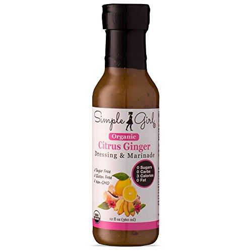 Simple Girl Organic Citrus Ginger Salad Dressing - 12oz - Sugar Free - Certified Organic - Kosher - Gluten Free - Vegan - No Carb - Fat Free - Compatible with Most Sugar Free Diet Plans