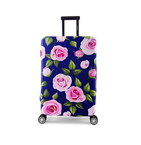 Periea Premium Elasticated Suitcase Luggage Cover - 38 Different Designs - Small, Medium or Large (Large, Purple with Pink Roses)