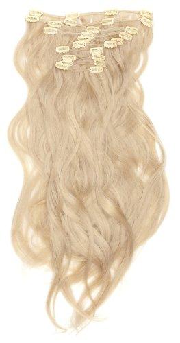 Love Hair Extensions - LHE/K1/QFC/120G/10PCS/18/22 - Thermofibre™ Lisses et Soyeux - 10 Pièces Clippants en Extensions - Couleur 22 - Blond Plage - 46 cm