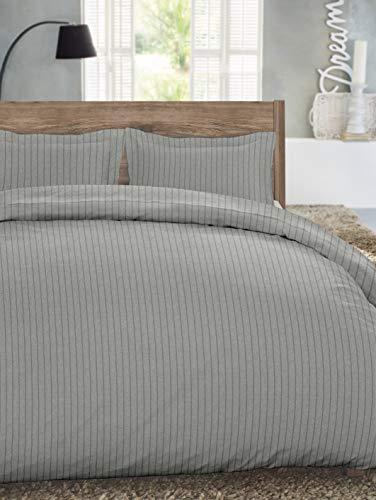 Dormisette Luxury German Flannel Ultra Soft 3-Piece 6-Ounce Duvet Cover Set Heather Light Grey Stripe King