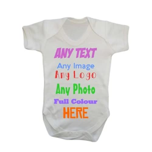 e48525ac5 ANY NAME TEXT IMAGE PICTURE LOGO Personalised Custom Baby Grow Vest ...