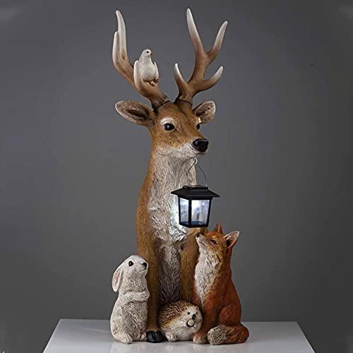 FUFRE Figuras de jardín para exteriores, con farolillo, luces solares de estatua de ciervo para exteriores,...