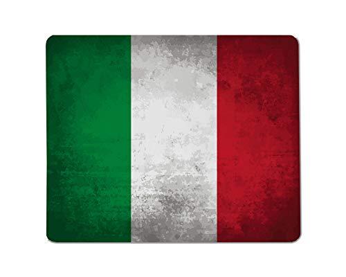 Yeuss Italiaanse vlaggen logo Rechthoekige Niet-slip Mousepad Italië, Italiaanse vlag op beton getextureerde achtergrond Gaming muismat 200mm x 240mm