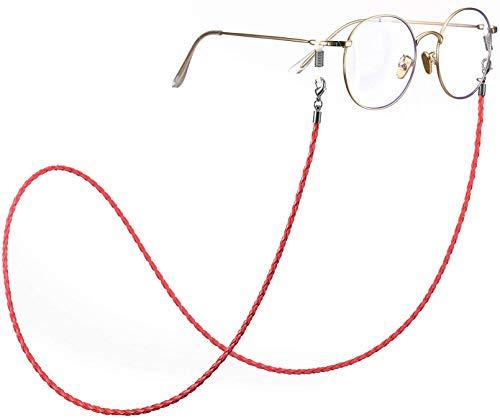 Moda Twist Link Cordón de Cuero Rojo Cadena de anteojos Conexión de Plata Anillo de Metal Gafas de Sol Soporte Correa de retención para Mujeres