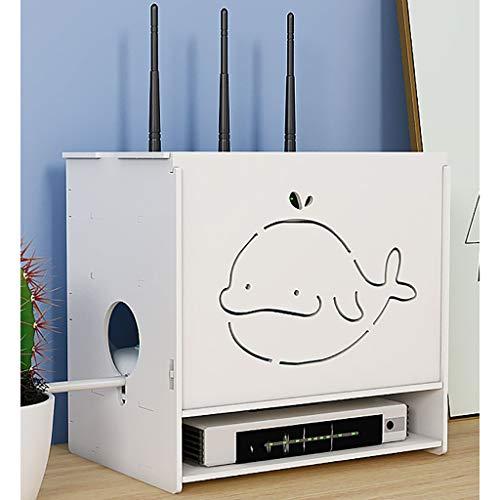 Tablettes flottantes WLAN-Router Aufbewahrungsboxenregal |Kabelmanagement-Box |Speicherorganisator, 3 In 1 Hohl Geschnitzten Holzkunststoff-Plattenwand-TV-Komponenten, Für Zuhause Und Büro, Einfach, E