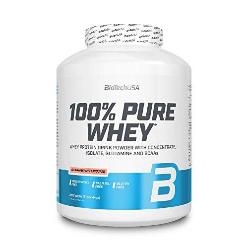 BioTechUSA 100% Pure Whey Premium Protein Isolat Pulver mit zusätzlichen Aminosäuren, glutenfrei, palmölfrei, aspartamfrei, 2270g, Erdbeere