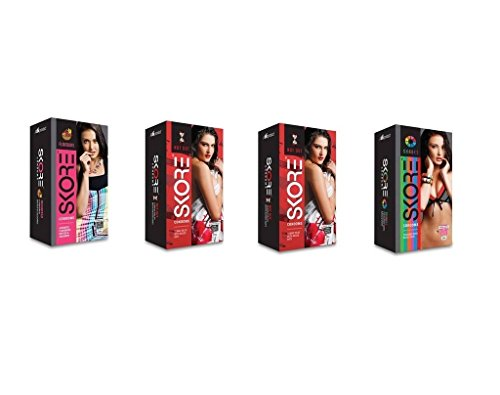 Skore Condoms - 20 Count (Pack of 4, Not Out, Shades and Flavours) (Ship from India)