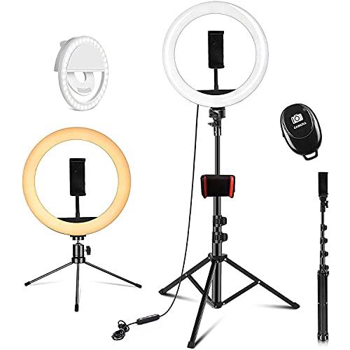 DOOK Aro de Luz, 10.2' Anillo de Luz Trípode Led Ring Light con Remoto Control Flexible Movil Tripode 3 Modos 10 Niveles para TIK Tok Selfie Youtube Instagram Fotografía Vlog Maquillaje