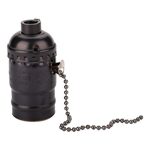 Garsent - Porta luz de la bombilla, soporte de lámpara E27, casquillo con lámpara de mesa con tirador y soporte para bombilla, color negro