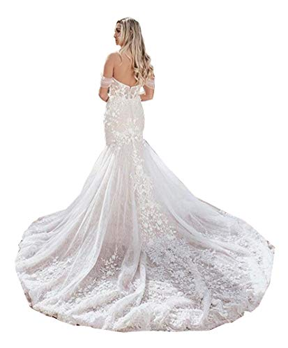 Mermaid Trumpet Off The Shoulder lace Bridal Ball Gown Wedding Dresses for Women Bride with Long Train Appliques Ivory
