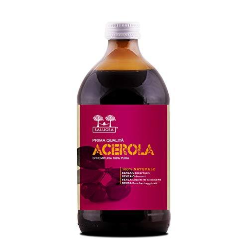 Succo di Acerola Salugea, 100{d9237229105925c3a43412fa7b9bc6f381dd0723b00a62570e0db18cf1e09098} Puro, non diluito. Integratore energizzante naturale, supporta le difese immunitarie. Vitamina c Naturale. In vetro scuro di grado farmaceutico. 500ml