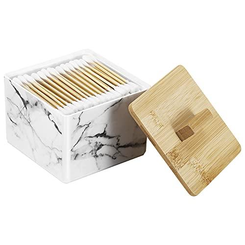 Shinowa Wattestäbchen Spender, Q Tips Wattestäbchen Behälter mit Bambusabdeckung Wattepads Aufbewahrung Make up Organizer Aufbewahrungsbox für Wattestäbchen Wattebäusche Makeup Pinsel, Weiß Marmor