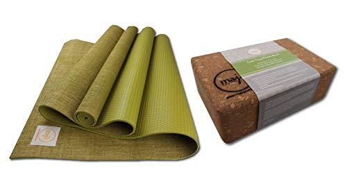 Maji Sports - Esterilla de yoga de yute + bloque de corcho para yoga y pilates (musgo, 24...