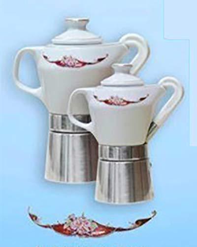 Sirge Cafetera Moka 4 tazas de porcelana fina certificada y decorada en oro (dibujo burdeos)