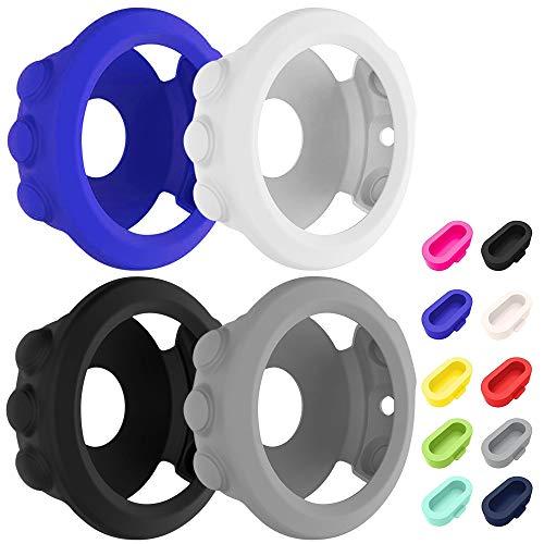 AFUNTA 4 piezas de silicona para reloj y 10 tapones antipolvo para Garmin Fenix 5X, funda protectora de silicona suave y protectores de puerto de cargador para Fenix 5X y Fenix 5X PLUS