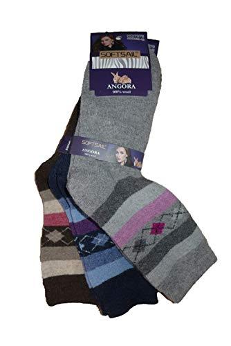 SOFTSAIL Damen Winter Angora Socken Strümpfe warm 3 Paar (Mod. 2, 39-42)