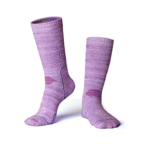 Ski-Socken Damen dick Warmer Walk-Frottier Kalb Socken High Performance Wintersport Socken Outdoor & Sport-Socken-Dämpfung Dämpfung Anti-Müdigkeit (2 Paar),Lila,L