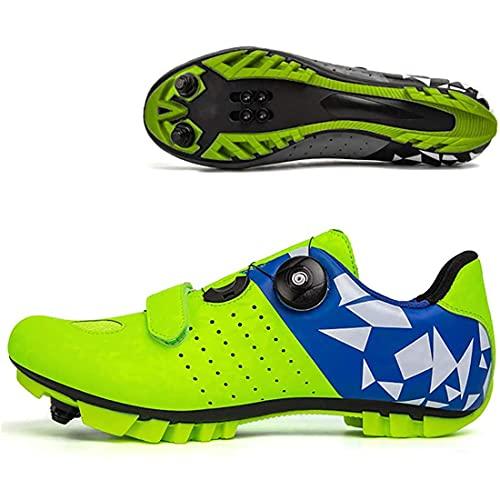 XTZLTY Zapatos De Ciclismo para Hombres, Zapatos De Bicicleta SPD Road Shoes para Bicicletas De Montaña Antideslizante Mujeres Spin MTB Montar En Carretera Zapato Giratorio,Verde,40