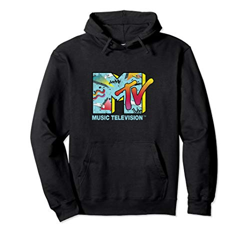 Classic MTV Logo 80s Print Design Pullover Hoodie for Adults, 5 Colors, S to 2XL