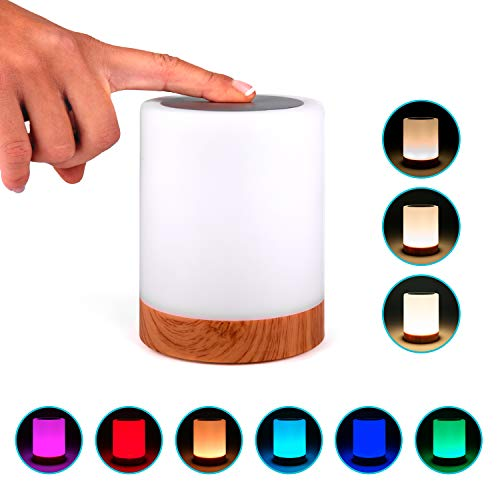 Lampara decorativa tactil con luz LED de colores para mesa,