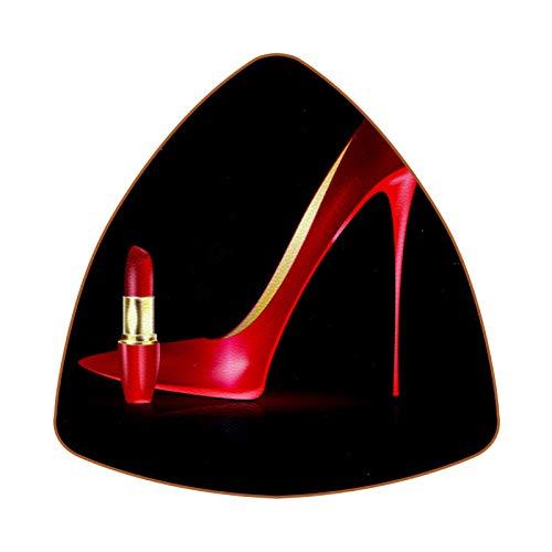 Posavasos triangulares para bebidas de tacón alto rojo y lápiz labial de cuero taza almohadilla para proteger muebles, resistente al calor, decoración de bar de cocina, juego de 6
