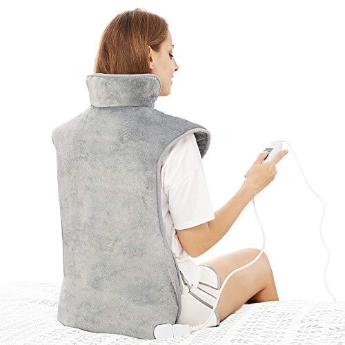 Heizkissen für Rücken Schulter Nacken 60x100cm Wärmekissen mit Abschaltautomatik, Schnelle Erwärmung, mit Taillenriemen, Rückenwärmer Heizdecke 3 Heizstufen, Auto-OFF-Timer, Flanellmaterial, Waschbar