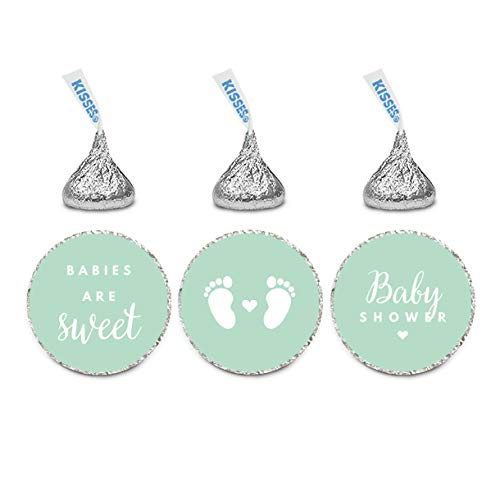 Andaz Press Chocolate Drop Labels Trio, Fits Kisses, Baby Shower, Mint Green, 216-Pack