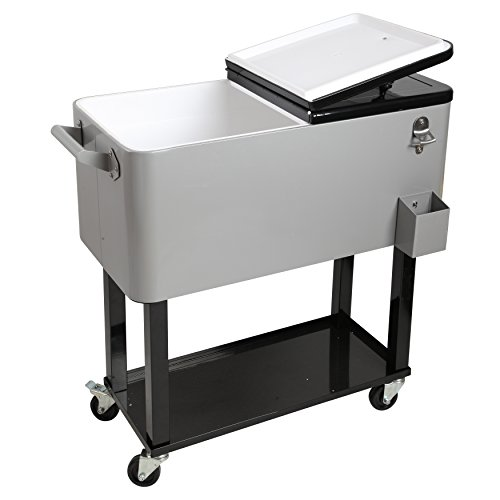 HIO 80 Qt Outdoor Patio Cooler Table On Wheels, Rolling Cooler With Shelf, Silver