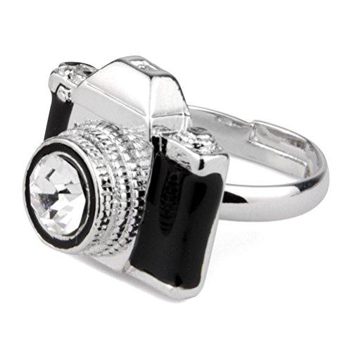 JOE COOL Funky Vintage Design Camera Adjustable One Size Fashion Ring - Black or White