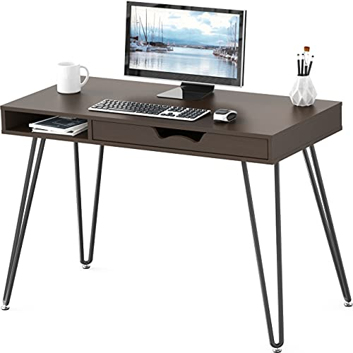 SHW Home Office Computer Hairpin Leg Desk with Drawer