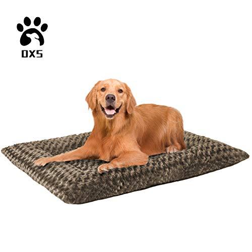 OXS Dog Bed Soft Plush Crate Mat Premium Faux Fur Washable Anti-Slip Mattress for Medium Large Pets Rose Kennel Pad Bed Mats