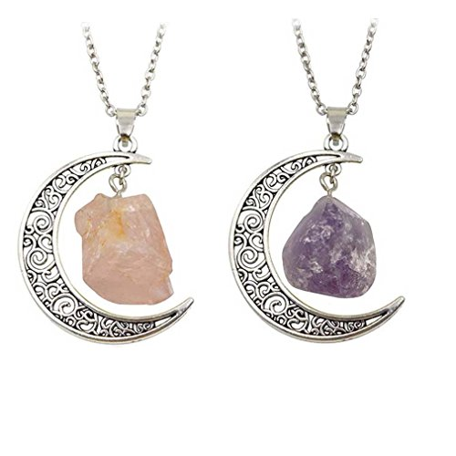 MJartoria Best Friend Moon Pendant Necklaces, Love Across Light Years Filigree Crescent Moon Nebulae Cabochon Friendship Necklace Set of 2 (2PC-Silver Moon-Natural Stone)