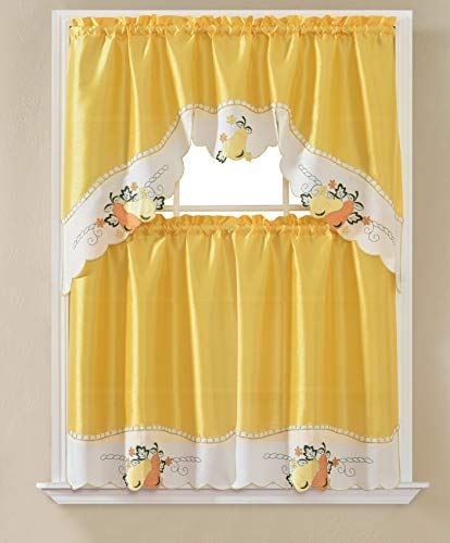 """Roll Over Image to Zoom in Gentle Home 3pc Kitchen Curtain and Valance Set/1 Swag Valance and 2 Tiers,2 Tiers Width 30""""x 36"""" Each and The Valance Length 60""""x36"""" (Yellow Pear)"""
