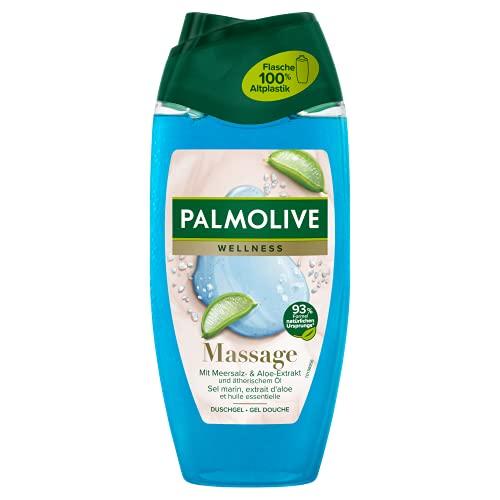 Palmolive Duschgel Natural Wellness Massage, 1 x 250 ml - Duschgel hat ein sanftes Peeling mit Toten-Meer-Salz, Aloe Vera und Wasserminze