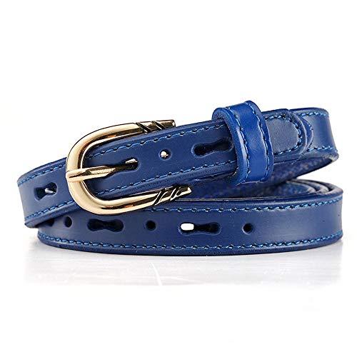 SANYUE Damengürtel hohles Leder dünner Gürtel einfacher Lederhosengürtel 75-95cm blau