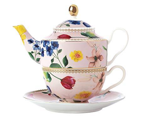 Maxwell & Williams Teas & C's - Teiera per 1 teiera e tazza con design Contessa in porcellana, rosa rosa, 380 ml