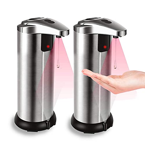 Automatic Soap Dispenser 2 Pack Touchless Soap Dispenser Infrared Stainless Steel Automatic Soap Dispenser Hands Free Soap Dispenser for Bathroom Kitchen Hotel Restaurant with Waterproof Base