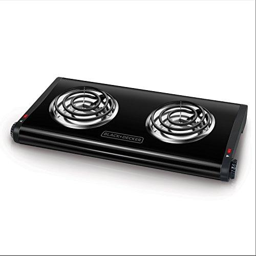 BLACK+DECKER Double Burner Portable Buffet Range, Black, DB1002B