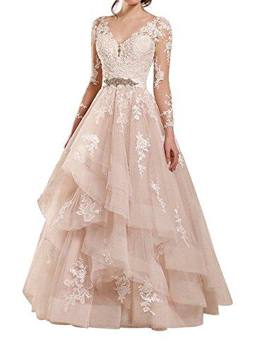 JAEDEN Lange Hochzeitskleider Brautkleid Prinzessin Ballkleider Tüll Spitze Abendkleider V-Ausschnitt Langarm Rosa EUR52