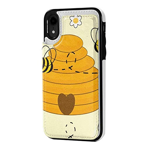 N/A Lederen iPhone XR Portemonneehouder, Kaarthouder Case met Creditcard Slots Desert Camel, Anti-Scratch Shock Proof Soft TPU Bumper Full-Body Beschermend Hoesje voor iPhone XR 6.1 Inch, Eén maat, Honing hommel