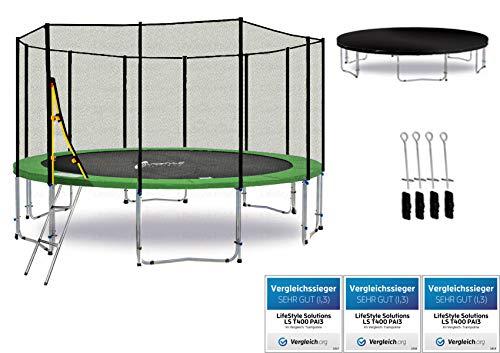 LS-T370-PA12 (GD) Deluxe LifeStyle ProAktiv Trampolino da giardino 370cm - incl. Rete di sicurezza 140g/m² - New