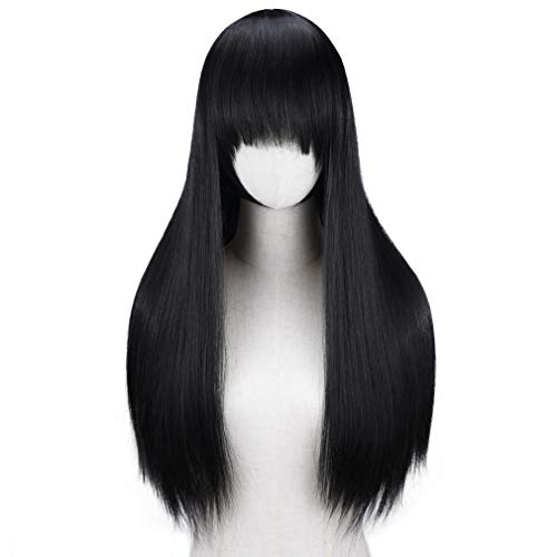 YOGFIT Lina Women's Long Straight Costume Wig with Bangs for Halloween Cosplay Party - Black