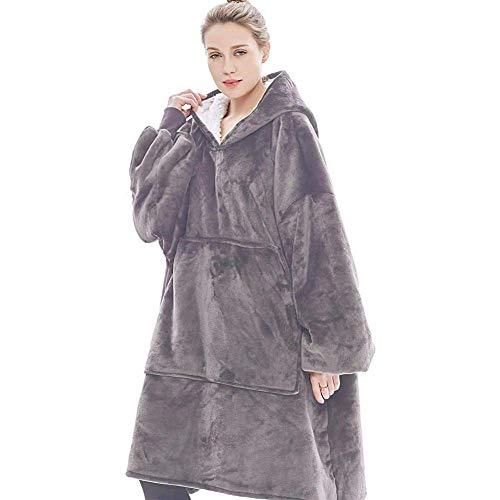 Ririhong Lazy Hoodies Sudadera Mujer Sudaderas con Capucha de Invierno Fleece Giant Pullover TV Manta con Mangas Pullover Oversize Women Hoody-Grey_One_Size_For_All