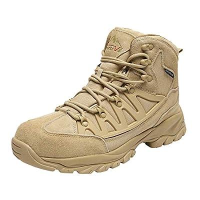 NORTIV 8 Men's Waterproof Hiking Boots Outdoor Mountaineering Trekking Mid Backpacking Shoes Beige Size 6.5 M US JS19002M