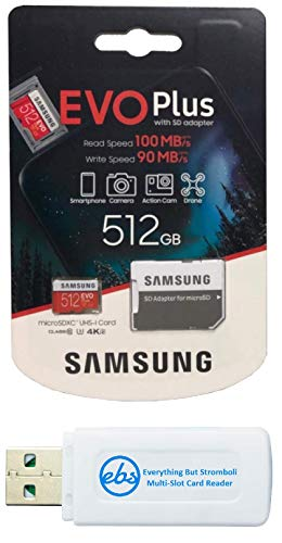 Samsung 512GB EVO+ Micro SD Memory Card for Samsung Phone Works with Galaxy Note 20 Ultra 5G, A42 5G, A21, A21s Phone (MB-MC512HA) Bundle with (1) Everything But Stromboli MicroSDXC & SD Card Reader