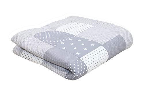 Alfombra para gatear de ULLENBOOM ® con estrellas grises (manta para bebé de 120x120 cm; ideal como colcha para el cochecito; apta como alfombra de juegos)