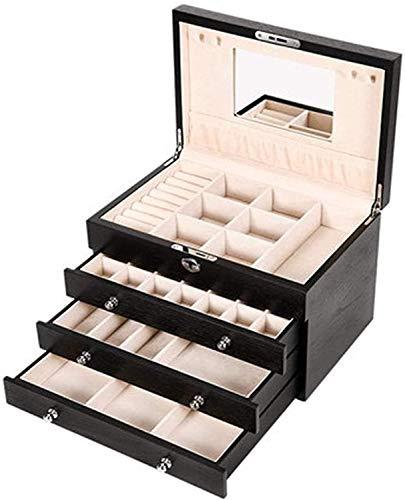 OH Caja de Joyería Multifuncional con Cerradura Joyería Vintage Caja de Alenamiento Super Capacity Jewelry Caja de Alenamiento Accesorios Accesorios Organizador de Joyería Seguro y