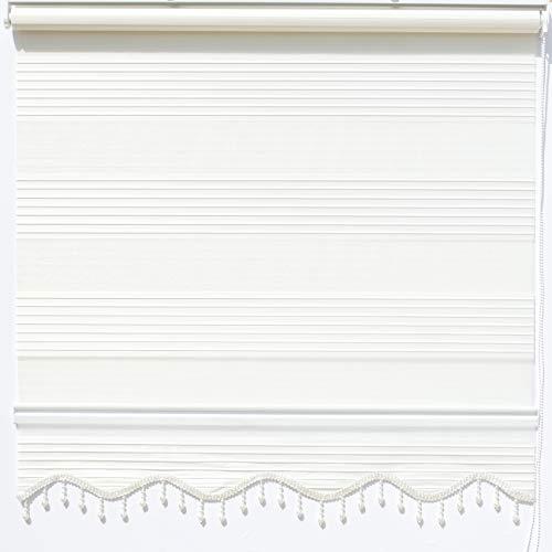 Doppelrollo Klemmfix ohne Bohren Beige Fenster Tür Rollo Zebra Duorollo Gardinen 110 x 200 cm