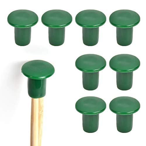 QLOUNI Juego de 60 protectores para caña de jardín, bastones de bambú, para jardín, bastones de bambú, estacas de bambú, color verde