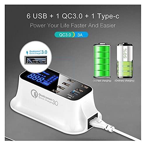 ZRNG Carga RÁPIDA 3.0 Smart USB Tipo C Estación de Cargador LED Pantalla LED de Carga rápida Tableta Cargador USB Ajuste para Samsung Adaptador (Socket Standard : US)
